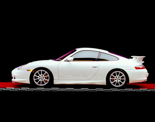 POR 04 RK0630 01 © Kimball Stock 2005 Porsche 911 GT3 Coupe White Side View On Red Floor Checkered Line Studio