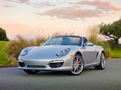 POR 04 RK0848 01 © Kimball Stock 2010 Porsche Boxster S Convertible Silver 3/4 Front View On Pavement By Shrubs