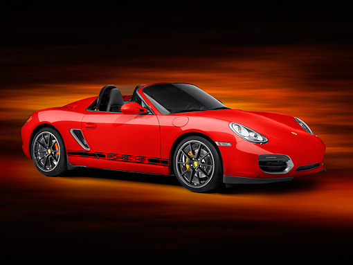 POR 04 RK0863 01 © Kimball Stock 2011 Porsche Boxster Spyder Red 3/4 Front View Studio