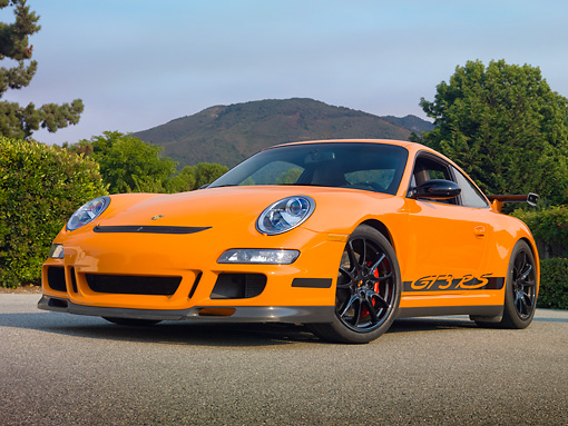 POR 04 RK0869 01 © Kimball Stock 2007 Porsche GT3 RS Orange 3/4 Front By Trees
