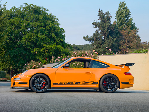 POR 04 RK0870 01 © Kimball Stock 2007 Porsche GT3 RS Orange Profile By Trees