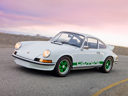 POR 04 RK0874 01 © Kimball Stock 1973 Porsche Carrera RS 2.7 White 3/4 Side View On Pavement