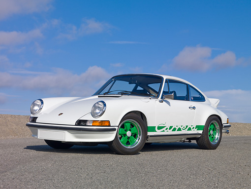 POR 04 RK0875 01 © Kimball Stock 1973 Porsche Carrera RS 2.7 White 3/4 Side View On Pavement