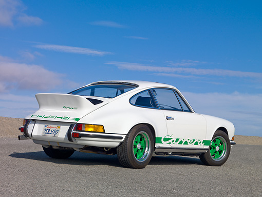 POR 04 RK0876 01 © Kimball Stock 1973 Porsche Carrera RS 2.7 White 3/4 Rear View On Pavement