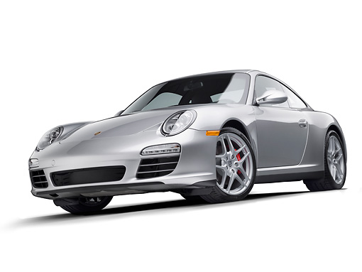 POR 04 RK0888 01 © Kimball Stock 2011 Porsche Carrera 4S Silver 3/4 Front View On White Seamless
