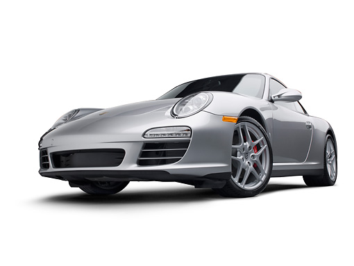 POR 04 RK0890 01 © Kimball Stock 2011 Porsche Carrera 4S Silver 3/4 Front View On White Seamless