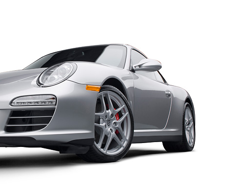 POR 04 RK0891 01 © Kimball Stock 2011 Porsche Carrera 4S Silver 3/4 Front View On White Seamless