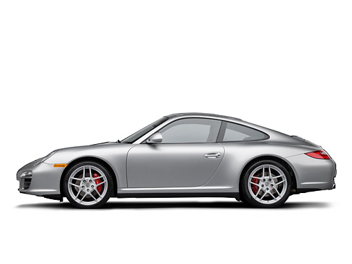 POR 04 RK0893 01 © Kimball Stock 2011 Porsche Carrera 4S Silver Profile View On White Seamless
