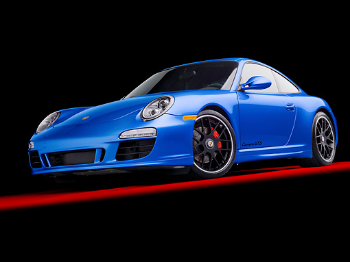 POR 04 RK0894 01 © Kimball Stock 2011 Porsche 911 Carrera GTS Blue 3/4 Front View In Studio