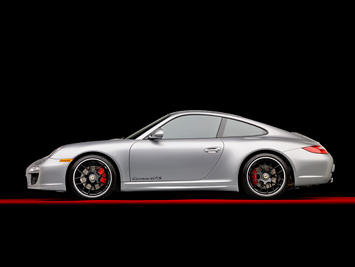 POR 04 RK0897 01 © Kimball Stock 2011 Porsche 911 Carrera GTS Silver Profile View In Studio