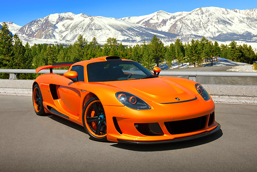 2008 Porsche Gemballa Mirage GT Orange 3/4 Front View On Pavement By ...