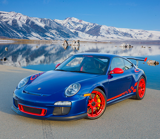 POR 04 RK0901 01 © Kimball Stock 2011 Porsche GT3 RS Blue And Red 3/4 Front View On Pavement