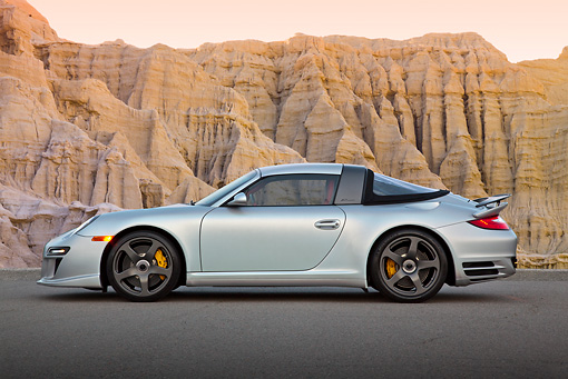 POR 04 RK0938 01 © Kimball Stock 2011 Porsche RUF RT Silver Profile View On Pavement By Cliffside