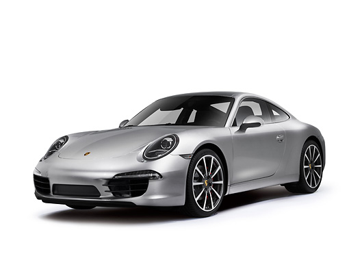 POR 04 RK0940 01 © Kimball Stock 2012 Porsche 911 Carrera S Silver 3/4 Front View On White Seamless