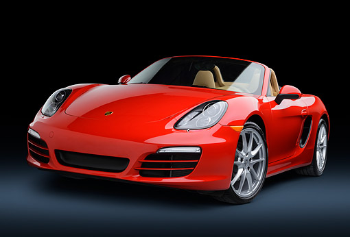 POR 04 RK0952 01 © Kimball Stock 2013 Porsche Boxster Red 3/4 Front View In Studio