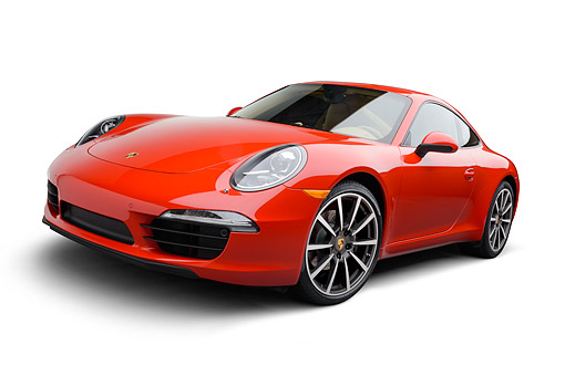 POR 04 RK0961 01 © Kimball Stock 2014 Porsche Carrera Red 3/4 Front View On White Seamless