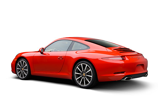 POR 04 RK0963 01 © Kimball Stock 2014 Porsche Carrera Red 3/4 Rear View On White Seamless