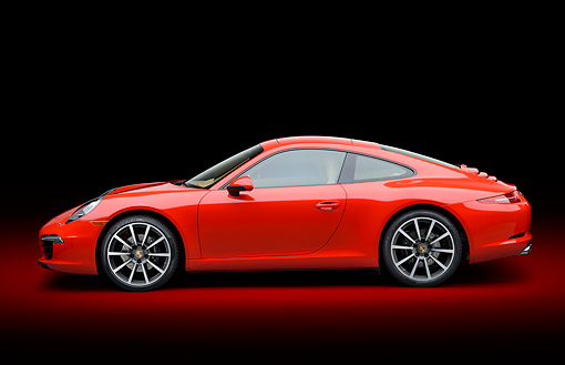 POR 04 RK0965 01 © Kimball Stock 2014 Porsche Carrera Red Profile View In Studio