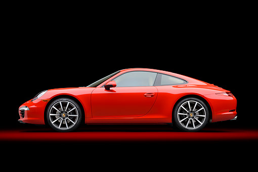 POR 04 RK0966 01 © Kimball Stock 2014 Porsche Carrera Red Profile View In Studio