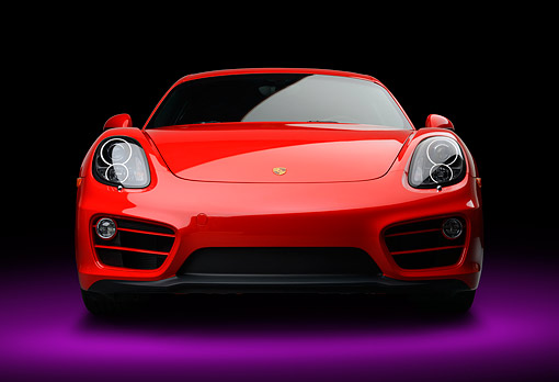 POR 04 RK0975 01 © Kimball Stock 2014 Porsche Cayman Red Front View In Studio