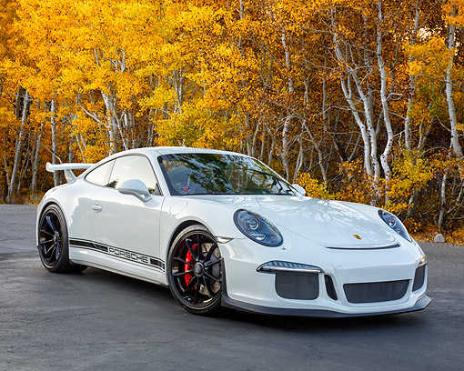 POR 04 RK0987 01 © Kimball Stock 2015 Porsche GT3 White 3/4 Front View By Autumn Trees
