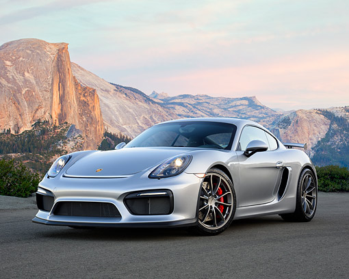 POR 04 RK0988 01 © Kimball Stock 2016 Porsche Cayman GT4 3.8-Liter Silver 3/4 Front View By Mountains