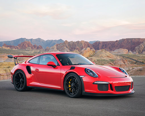 POR 04 RK0993 01 © Kimball Stock 2016 Porsche 911 GT3 RS Red 3/4 Front View In Desert