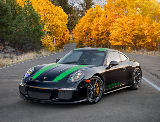POR 04 RK1002 01 © Kimball Stock 2017 Porsche 911 R Black 3/4 Front View On Road By Autumn Trees