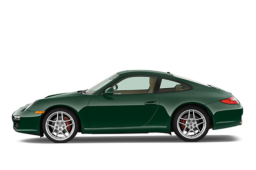 POR 04 IZ0001 01 © Kimball Stock 2010 Porsche 911 Carrera S Coupe Green Profile View Studio