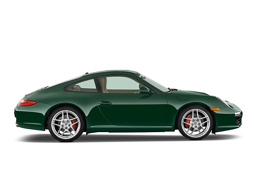POR 04 IZ0002 01 © Kimball Stock 2010 Porsche 911 Carrera S Coupe Green Profile View Studio