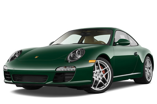 POR 04 IZ0004 01 © Kimball Stock 2010 Porsche 911 Carrera S Coupe Green 3/4 Front View Studio