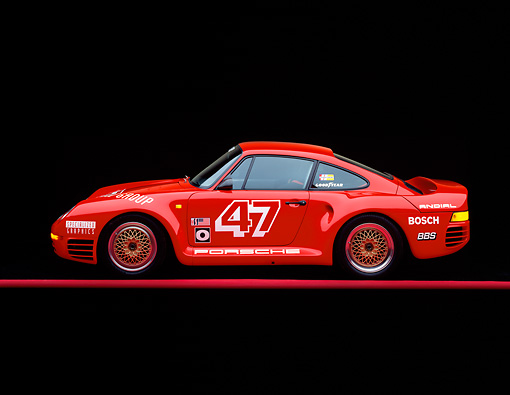 POR 04 RK0038 03 © Kimball Stock 1988 Porsche 959S Red Profile View On Red Line Studio