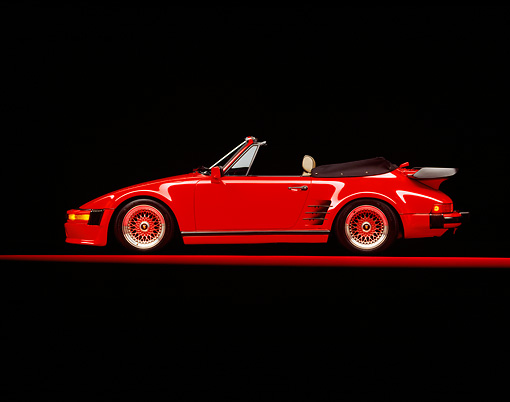POR 04 RK0085 05 © Kimball Stock 1989 Porsche Slopenose Convertible Red Profile On Red Floor Studio