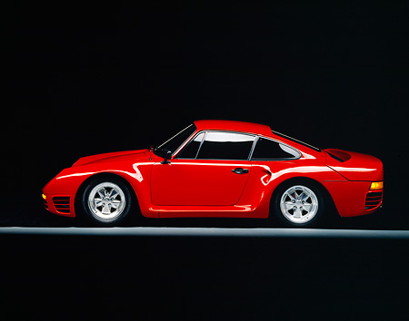 POR 04 RK0223 01 © Kimball Stock 1988 Porsche 959 Conversion Red Profile On Gray Line Studio