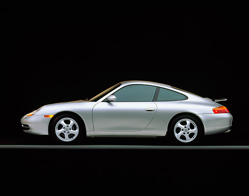 POR 04 RK0351 01 © Kimball Stock 1999 Porsche 911 Carrera Coupe Silver Profile On Gray Line Studio