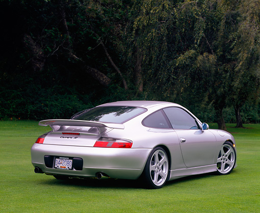 POR 04 RK0444 02 © Kimball Stock 2001 Porsche Ruf 996 Silver Rear 3/4 View On Grass Trees Background