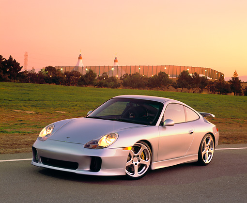 POR 04 RK0447 05 © Kimball Stock 2001 Porsche Ruf RGT Silver Front 3/4 View On Pavement