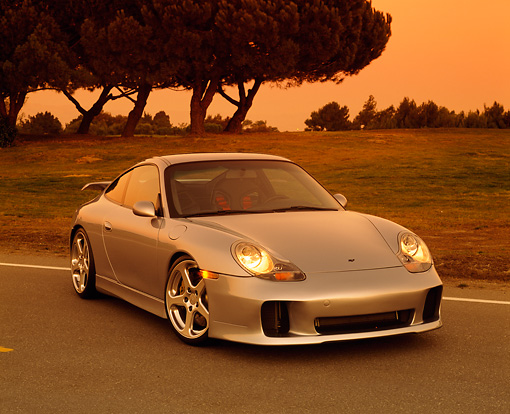 POR 04 RK0448 02 © Kimball Stock 2001 Porsche RUF RGT Silver Front 3/4 View On Pavement
