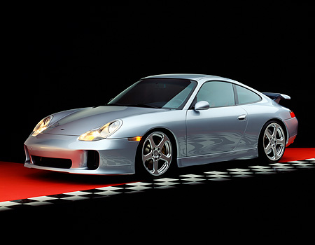 POR 04 RK0451 07 © Kimball Stock 2001 Porsche RUF RGT Silver Front 3/4 View On Red Floor Checkered Line Studio