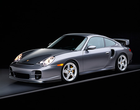 POR 04 RK0474 09 © Kimball Stock 2002 Porsche GT2 Gray 3/4 Side On Gray Line Studio
