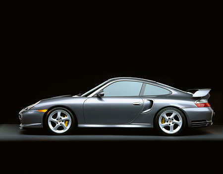 POR 04 RK0475 03 © Kimball Stock 2002 Porsche GT2 Gray Profile On Gray Floor Studio