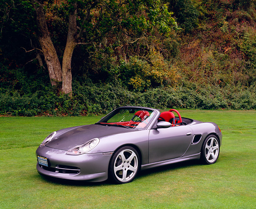 POR 04 RK0482 01 © Kimball Stock 2001 Porsche Ruf Gray Convertible 3/4 Side View On Grass Trees Background