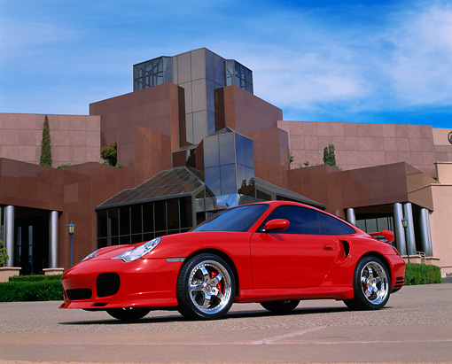 POR 04 RK0493 02 © Kimball Stock 2003 Porsche Turbo X-50 Red Low 3/4 Side View By Museum
