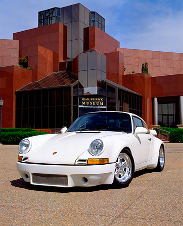 POR 04 RK0517 03 © Kimball Stock 1970 Porsche RSR Replica White 3/4 Front View On Pavement By Museum
