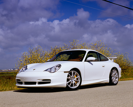 POR 04 RK0622 02 © Kimball Stock 2005 Porsche 911 GT3 Coupe White Low 3/4 Front View On Pavement By Yellow Flower Bush