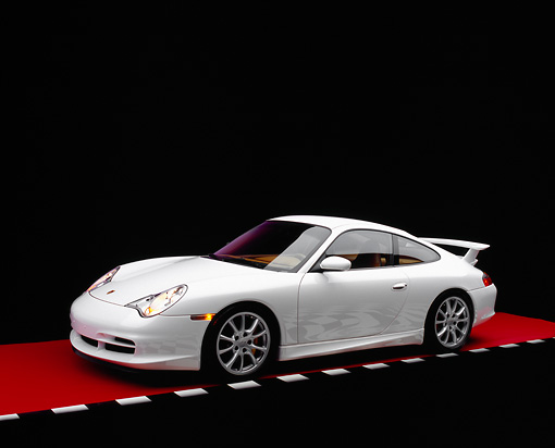 POR 04 RK0629 02 © Kimball Stock 2005 Porsche 911 GT3 Coupe White 3/4 Front View On Red Floor Checkered Line Studio