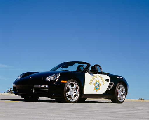 POR 04 RK0633 02 © Kimball Stock 2005 Porsche Boxster S Police Car Low 3/4 Front View On Pavement