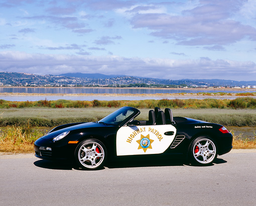 POR 04 RK0635 02 © Kimball Stock 2005 Porsche Boxster S California Highway Patrol Car 3/4 Front View By Marsh
