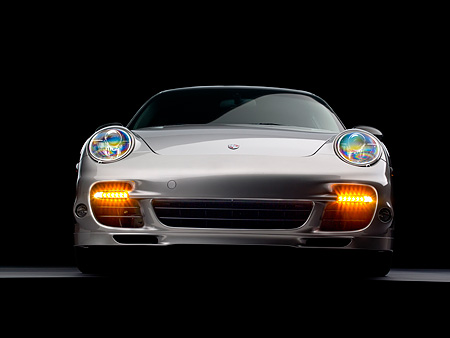 POR 04 RK0683 01 © Kimball Stock 2007 Porsche 911 Turbo Silver Low Head On View Studio