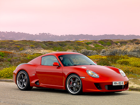 POR 04 RK0696 01 © Kimball Stock 2007 Porsche RUF RK Coupe Red 3/4 Front View On Pavement By Hills